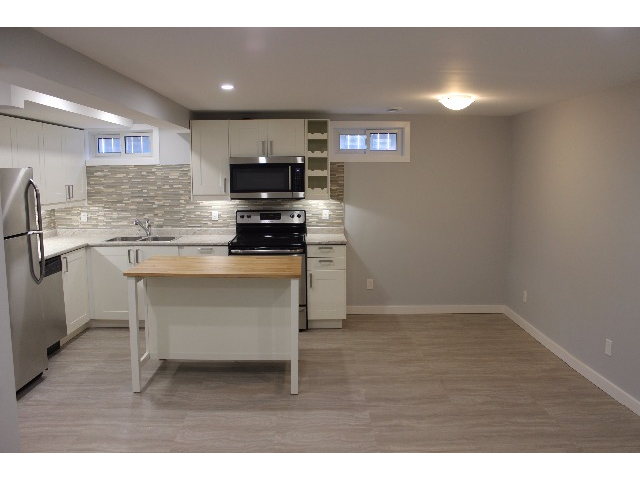 Brand new kitchen with butcher block island, fridge, stove, microwave rangehood and dishwasher