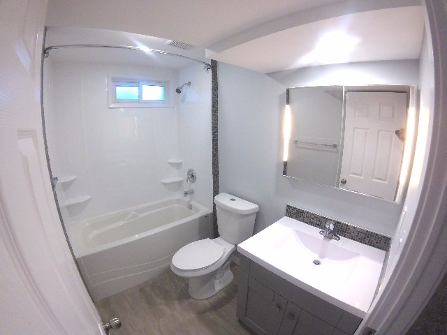 Bathroom with tub and powerhead shower, plus LED deep medicine cabinet.